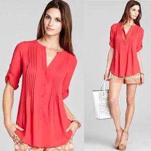 BCBGMaxAzria Top Red Flowy Shirt Like New Size L